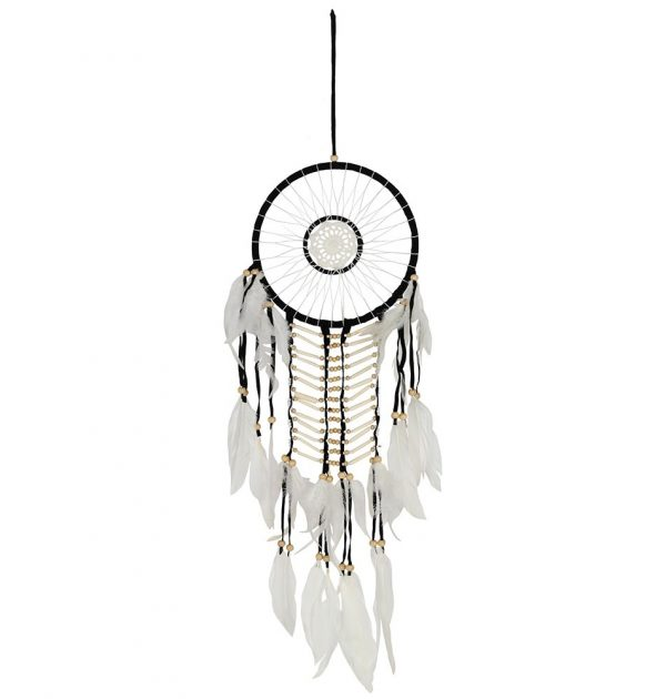 Black & White Dream Catcher with Natural Beads